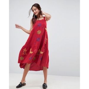 ASOS Geo Tribal Embroidered Drop Waist Midi Dress